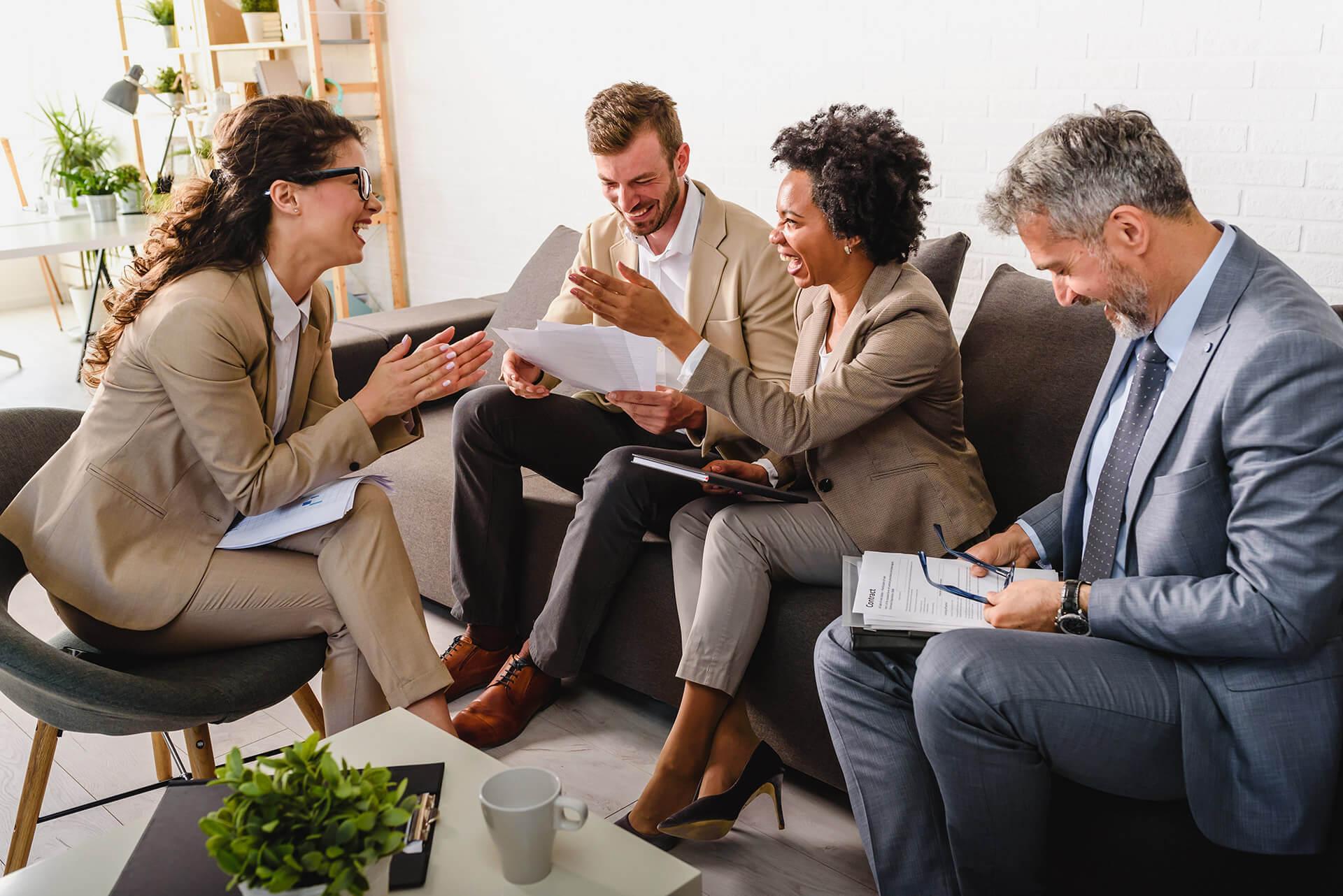 Diverse team discussing work