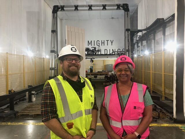 Sam Ruben and Cecily Joseph at the Mighty Buildings construction site in Oakland, California.